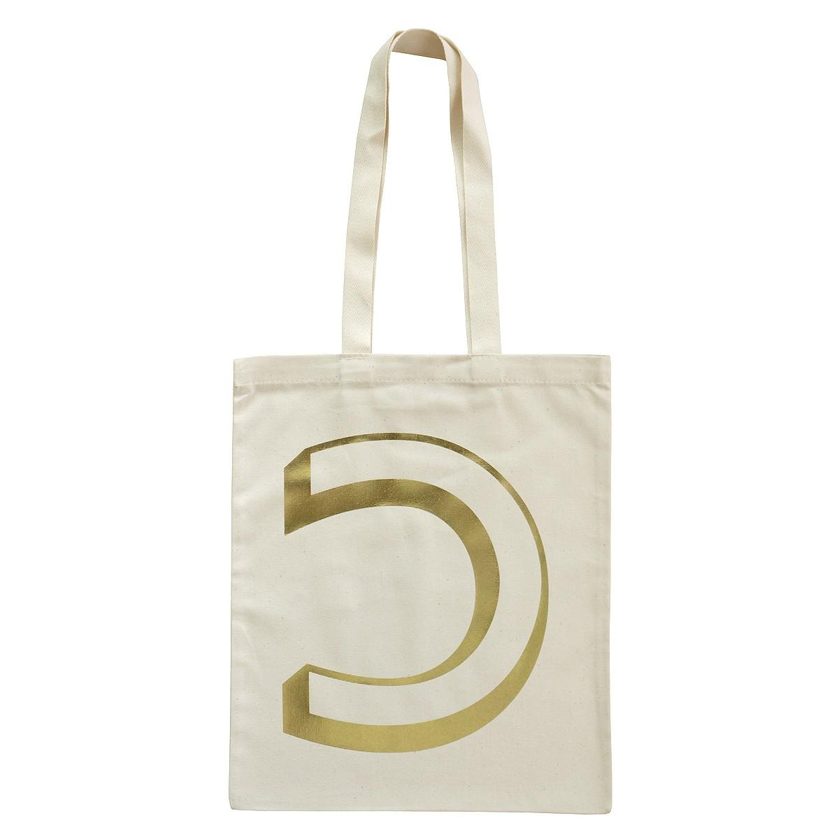 INITIAL COTTON TOTE BAG: GOLD