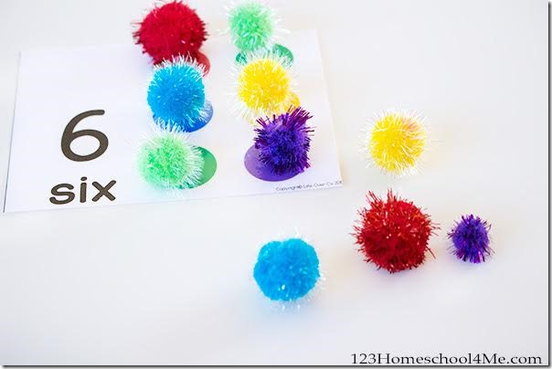 kids will love using colorful pom poms to practice counting