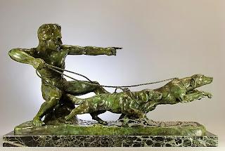 Подписная скульптура из бронзы. АРТ ДЕКО. ок.1900 г. 85/52 см.