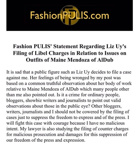 Fashion Pulis' Statement on Liz Uy's filing of libel charges