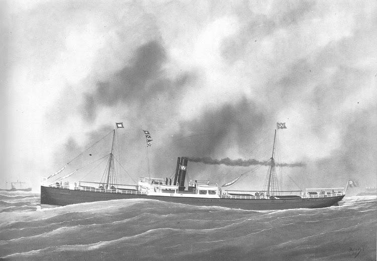 Oleo del vapor SUNNINGDALE. Foto The Old Customs House, de Lymington. Artista Edouard Adam. Jr. Año 1896.jpg