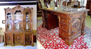 Антикварный кабинет. ок.1850 г. Книжный шкаф, письменный стол, два кресла. 15000 евро.