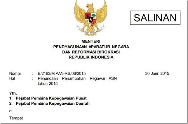 surat penundaan penerimaan cpns 2015