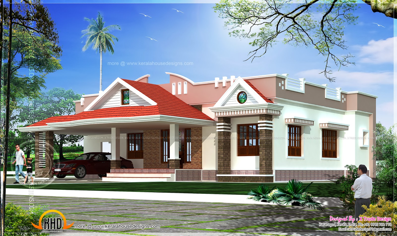 Single storied 2 bedroom house elevation kerala home for Single floor house elevations indian style