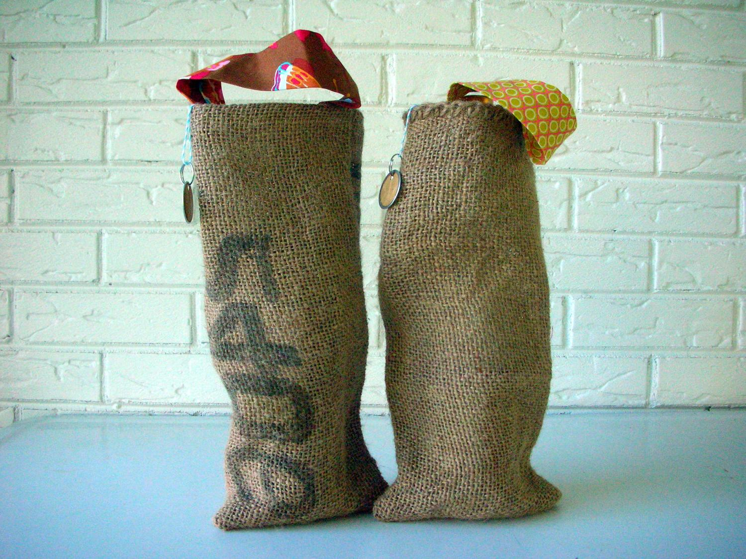 Burlap Wine Bags Holiday