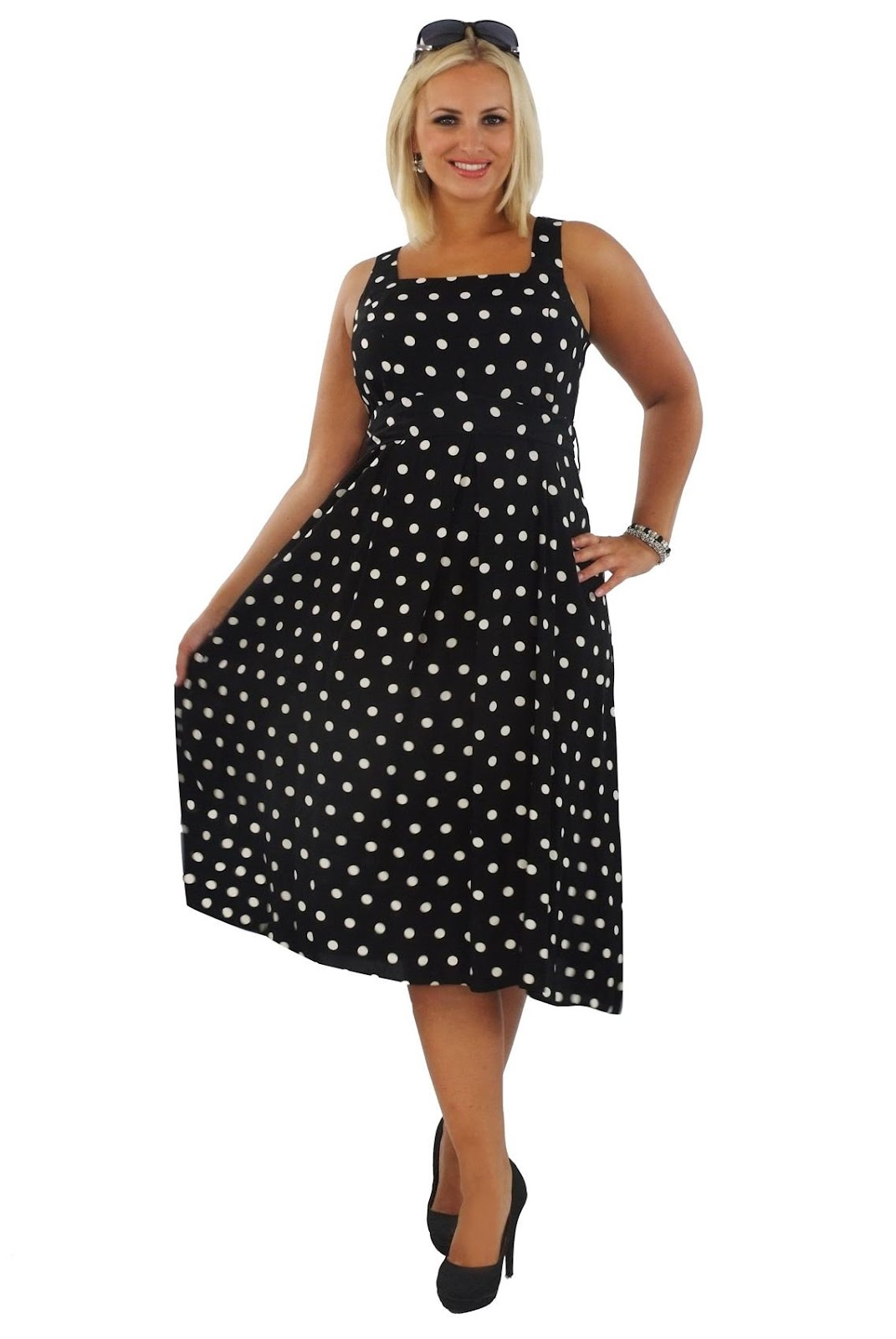 Black & White Spot Print Dress