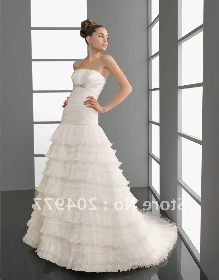 Free Shipping AA-65 Cascading Ruffle Wedding Dress With Organza.