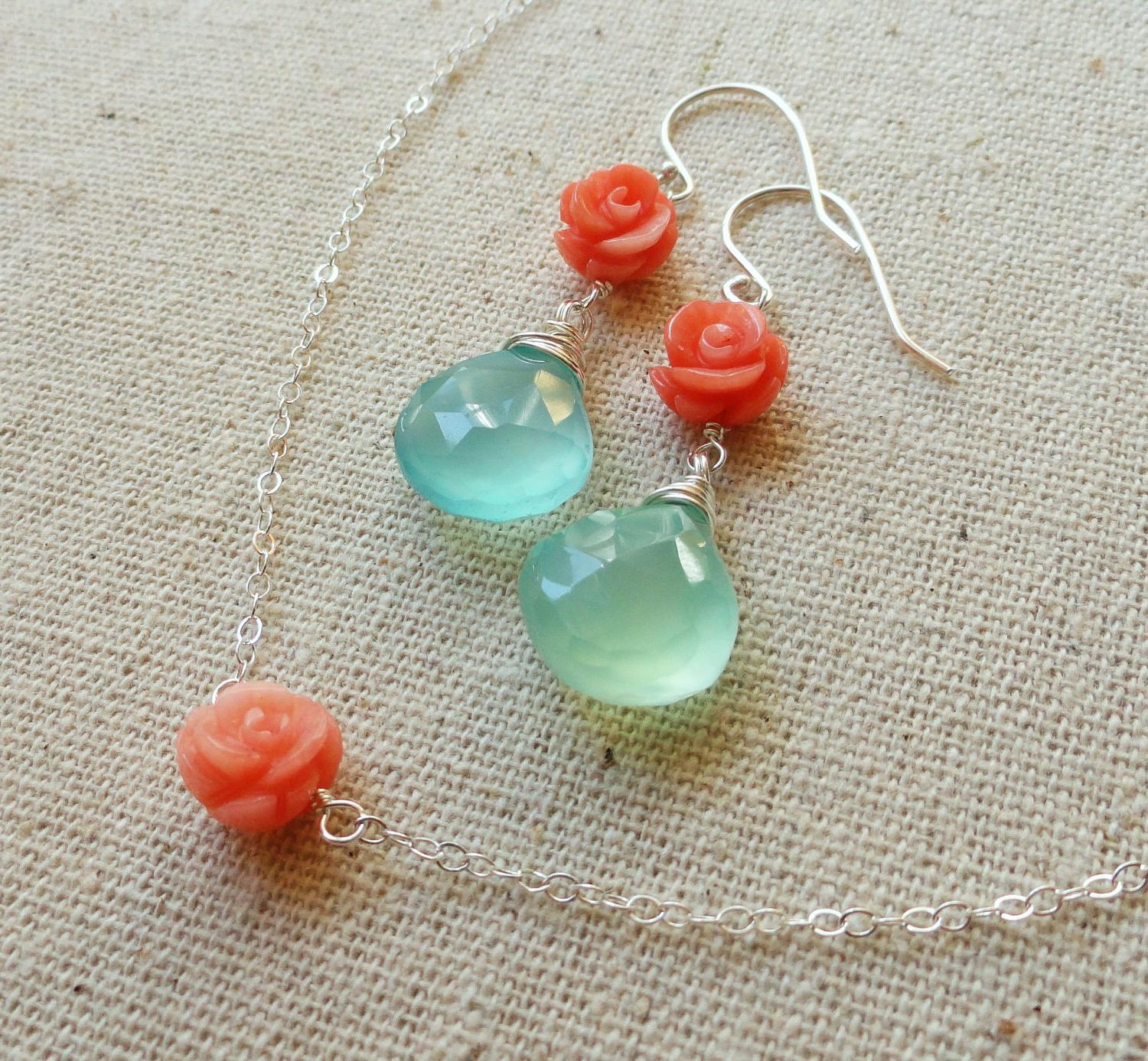 Turquoise & Coral Necklace and