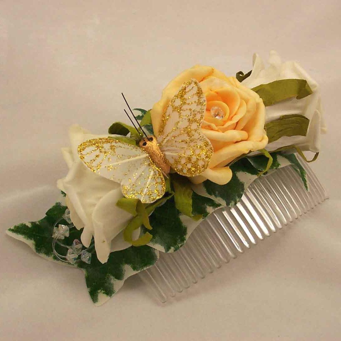 Gold & Ivory Rose Butterfly