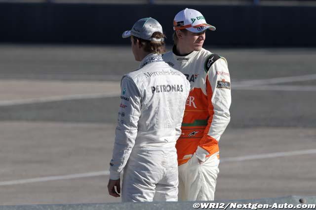 Нико Росберг и Нико Хюлькенберг на предсезонных тестах 2012 в Хересе
