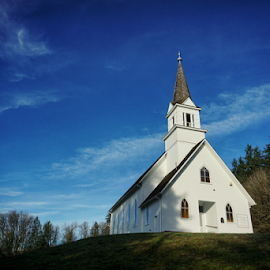 Little White Church on the Hill  by Todd Reynolds - Buildings & Architecture Places of Worship