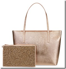 Ted Baker large gold saffiano tote with clutch