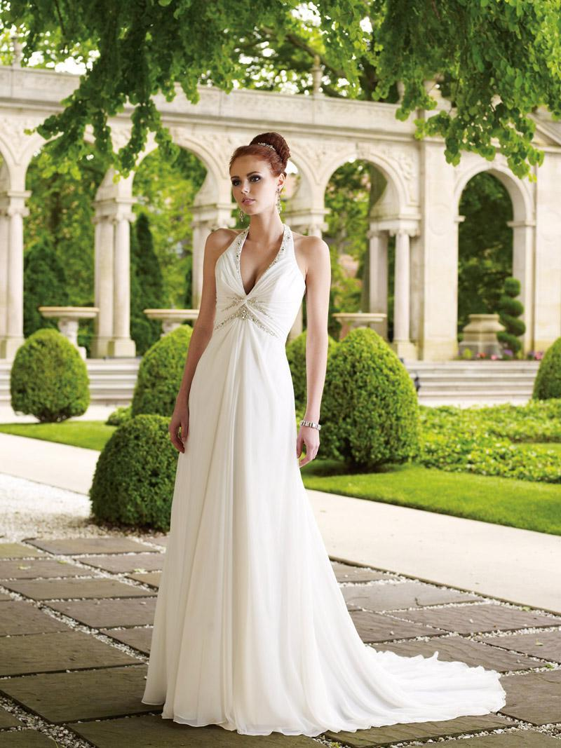 Elegant Halter Jeweled Beaded Chiffon A-line Princess Wedding Dress