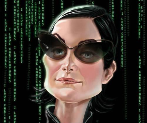 Керри-Энн Мосс - Тринити - 18 юмористических карикатур на знаменитостей из 15 известных кинолент