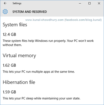 Windows 10 Storage Usage Detail 1 (www.kunal-chowdhury.com)