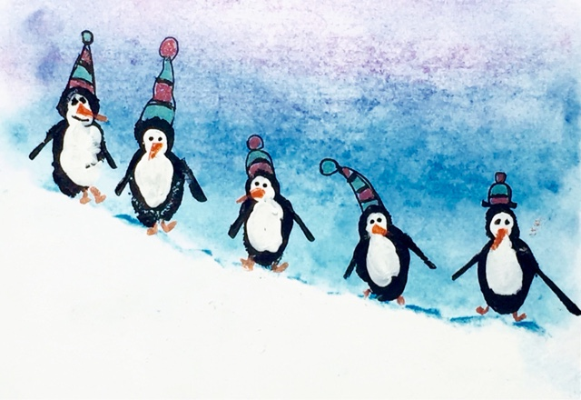 Kids Art: Penguins and Snowmen Winter Holiday Cards