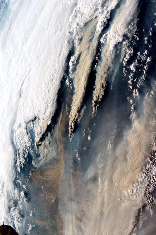 Astronaut Kjell Lindgren ‏@astro_kjell tweeted this photo of smoke plumes from wildfires in Washington State, taken from the International Space Station on 17 August 2015. 'Thoughts and prayers are with those affected by the wildfires in the Northwest.' Photo: Kjell Lindgren / NASA