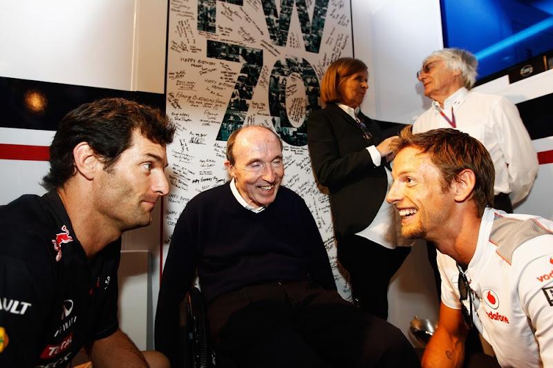 Фрэнк Уильямс Марк Уэббер Дженсон Баттон на праздновании 70-летия на Гран-при Испании 2012