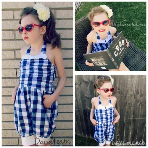 50s 60s vintage rockabilly style romper for girls. Handcrafted childrens clothing. Made in Detroit. Daydream Believers Designs