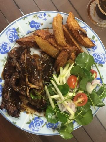 kentang, wedges, menu western, kambing bakar