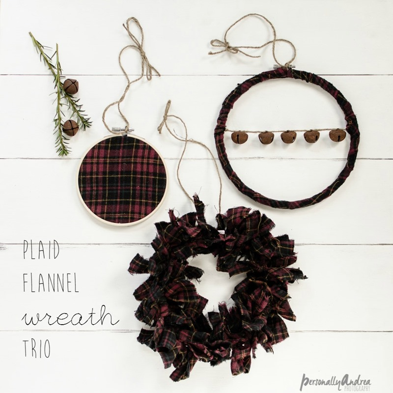 Three Plaid Flannel Wreaths for Winter