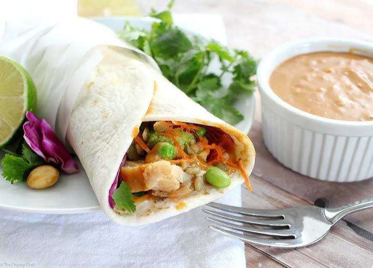 Spicy Thai Peanut Chicken Wraps Recipe | Yummly