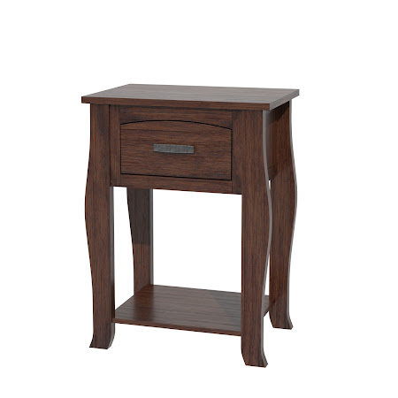 Cascade Nightstand with Shelf, Stormy Walnut