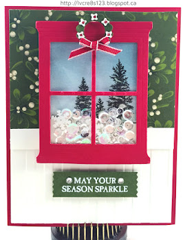 Linda Vich Creates: Hearth and Home: Fused. A sparkly sequin-filled winter scene is framed by a cheery red window and hung on a wall papered with Home For Christmas DSP. This delightful shaker card was created with the WRMK Fuse.