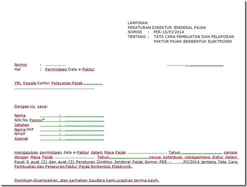 Download Format Surat Permintaan Data Faktur Pajak Efaktur Yang