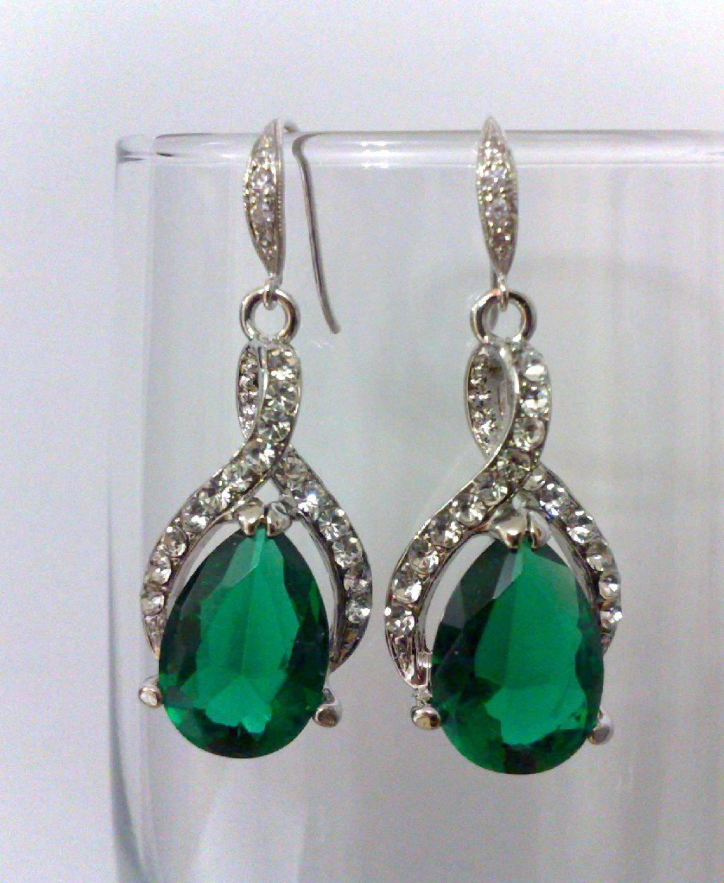 Emerald Green Earrings, Bridal