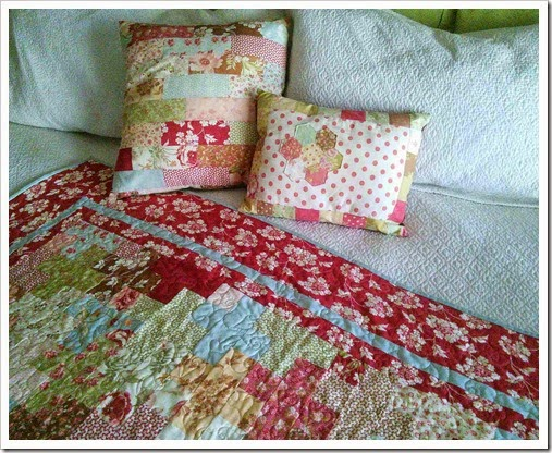Butterscotch and Rose quilt and pillow