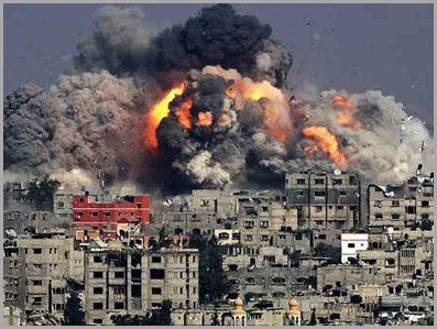 Ataque genocída em Gaza pelos Sionistas com a desculpa de defesa contra terroristas.