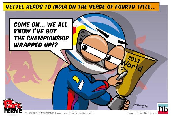 Себастьян Феттель готовится завоевать 4-ый титул на Гран-при Индии 2013 - комикс Chris Rathbone