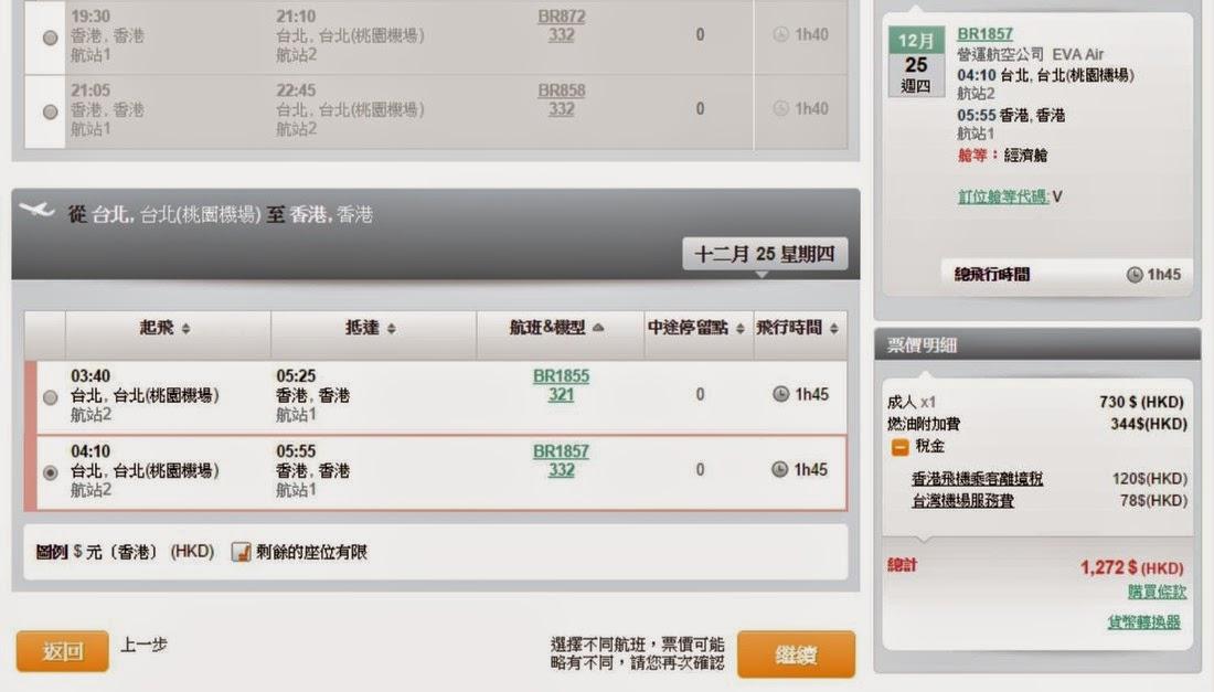 香港飛台北 12月1至19日出發, 12月25至27日回程 來回$730(連稅$1,272)