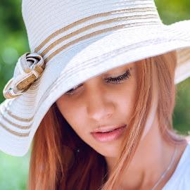 speechless ... by Joita Gigi - People Portraits of Women ( girl, delicate, summer, sensuality, beauty, hair, hat,  )