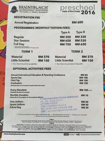 Brainy bunch fees 2020