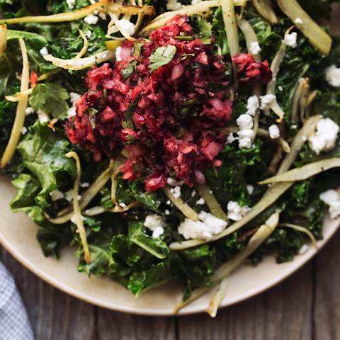 Warm Kale Salad with Roasted Fennel and Cranberry Meyer Lemon Salsa