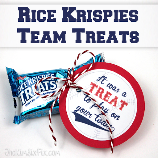 picture regarding Free Printable Baseball Tags named Rice Krispies Workers Snacks (with Totally free Printable Reward Tags