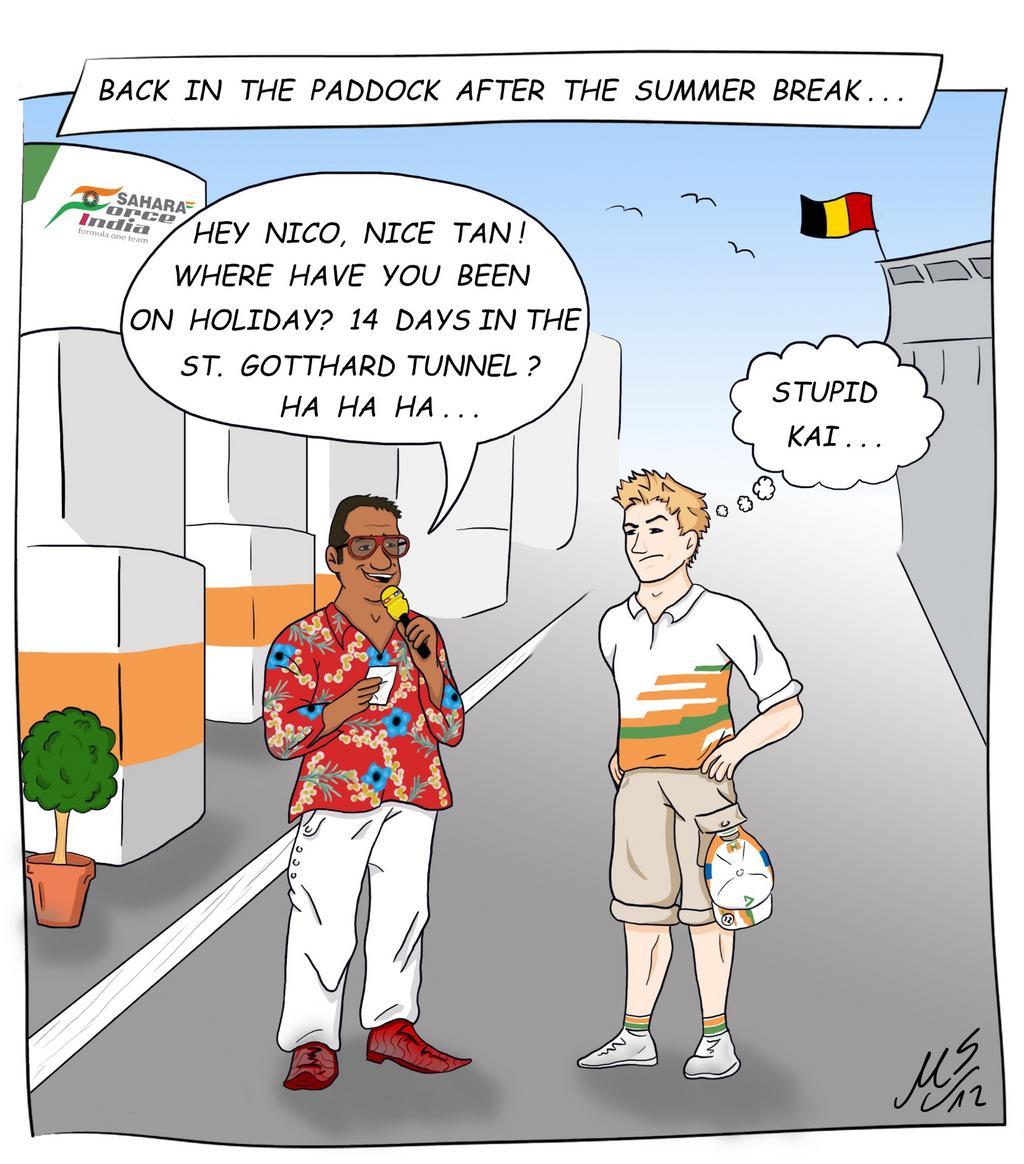 комикс Нико Хюлькенберг и Кай Абель встречаются на Гран-при Бельгии 2012