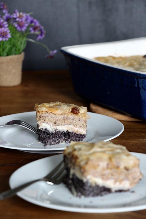 Gibanica, Apfel-Mohn,Walnuss-Pastete, Slowenischer Kuchen, Slowenisches Dessert, vegan