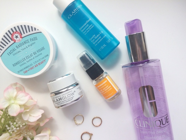 Skincare empties, skincare worth repurchasing, skincare for oily skin, clinique take the day off oil, Ole henriksen truth serum, F.A.B radiance pads, Glam glow mask, Glam glow super mud, Clarins eye makeup remover, beauty blogger, Scottish beauty blogger