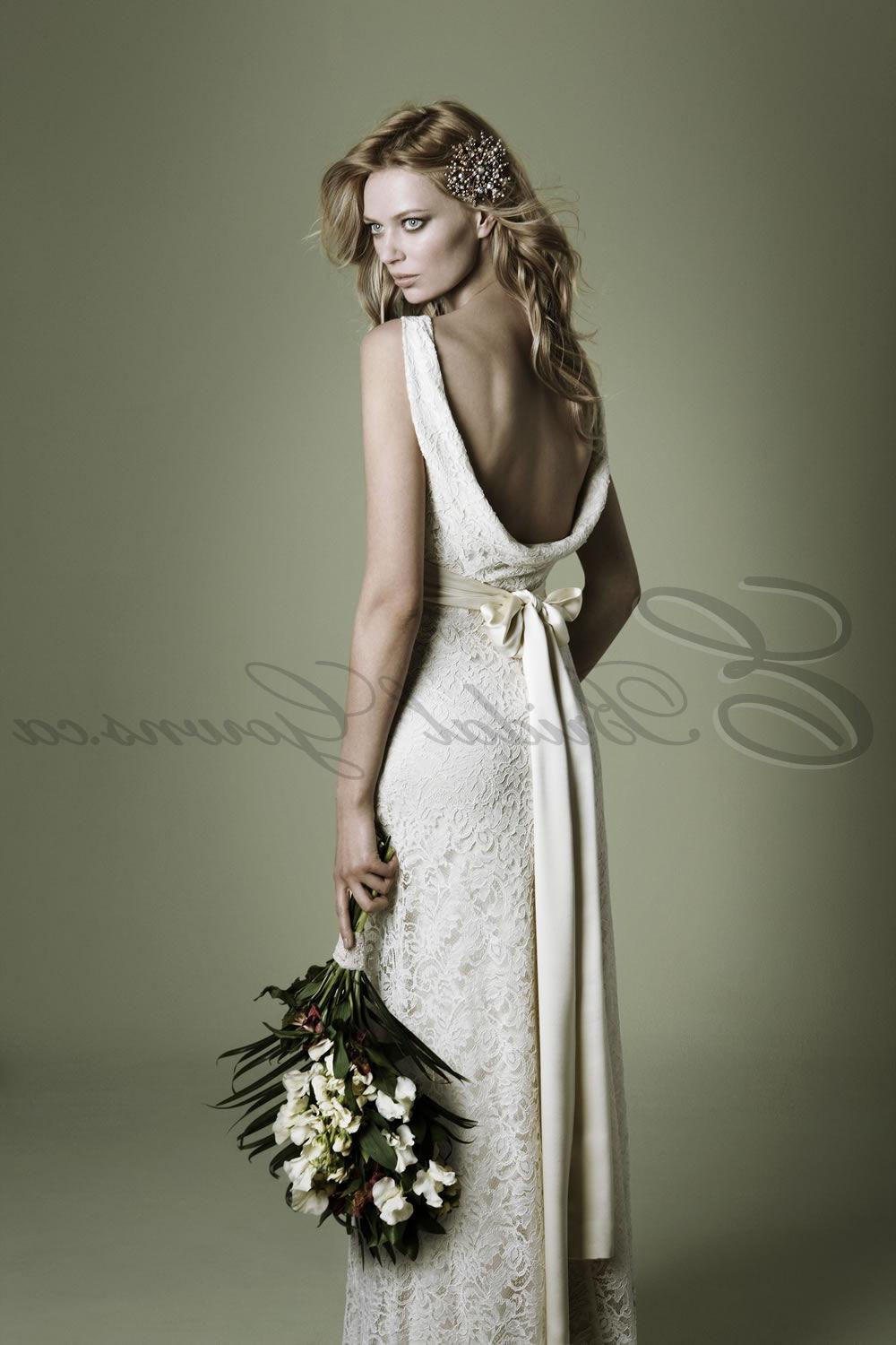 Beautiful Hand-washed Silk Sashes Cowl Neckline Vintage Wedding Dress