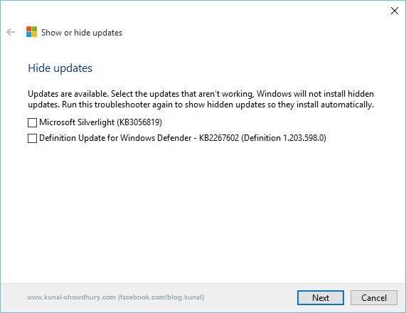 4. Show or Hide updates Troubleshooter - Hide selective updates