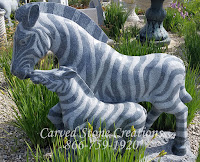 Zebra Pair Statue, Charcoal Grey