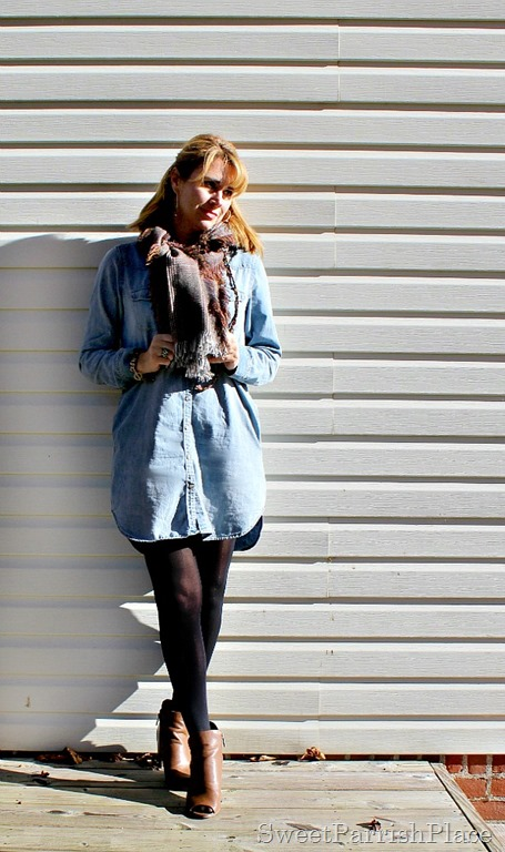 Denim-shirtdress-black-tights-brown-booties-1