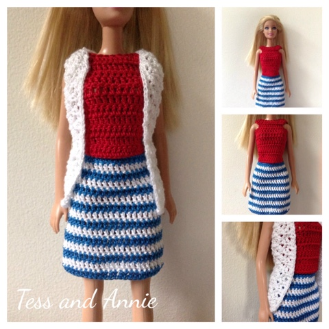 Tess And Annie Free Crochet Pattern Red White And Blue Barbie