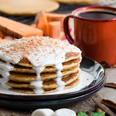 Sweet Potato Pancakes with Marshmallow Sauce For A Thanksgiving Breakfast
