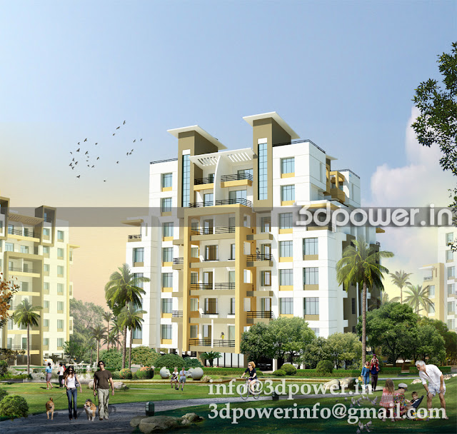 3D view of Apartment Building C Type with a jogging track view.