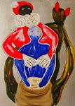 Der Weihnachtsmann und das Teufelchen, Acryl auf Papier, 30*40 cm