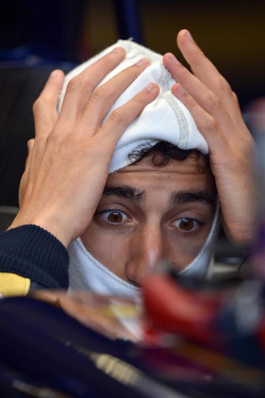 удивленный Даниэль Риккардо на Гран-при Германии 2013